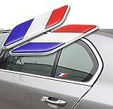 2x Voiture Autocollants Sticker Drapeau Français Pour Décoration Voiture Adhésif