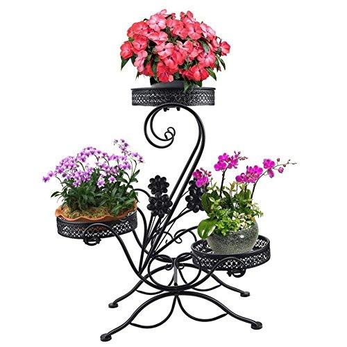 """Dekorativer Blumenständer mit 3Ebenen für 3 Töpfe, Metall, Garten, Terrasse, modernes \""""S\""""-Design"""