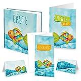 46-teiliges Set REGENBOGENFISCH: Gästebuch + 10 Einladungen + 10 Menükarten + 25 Tischkarten blau türkis orange pink grün Jungen UND Mädchen zur Kommunion Taufe Geburtstag
