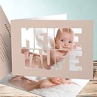 Taufe Einladungskarten Basteln, Taufe Fototext 15 Karten, Horizontale  Klappkarte 148x105 Inkl. Weiße Umschläge