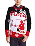 Uideazone Herrens Merry Weihnachts Snowflakes Xmas Sweater Pullover Lange Ärmel Jumper Shirts Plus Size