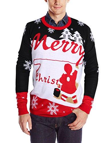 (Uideazone Herrens Merry Weihnachts Snowflakes Xmas Sweater Pullover Lange Ärmel Jumper Shirts Plus Size)