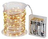 LED-Highlights Deko Lichterkette Batterie 80 Mikro LED Tropfen warmweiß auf Kupferdraht 8,3 m Micro Beleuchtung Stimmungslicht Innen Außen