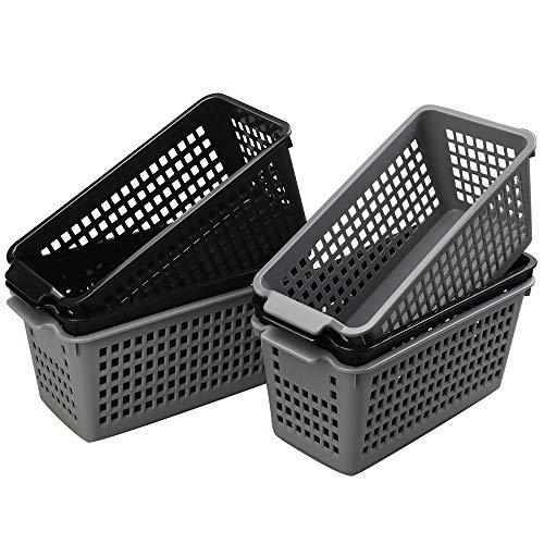 Ponpong Klein Aufbewahrungskorb aus Kunststoff Korb Plastik Plastikkörbe Kunststoffkorb Körbchen Geflochten Rechteckig, Schwarz/Grau, 6 Stück -