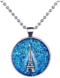 """Infinite U Fashion para mujer collar azul cielo París Torre Eiffel aleación de redondo epoxi colgante 27,5""""Jersey cadena"""
