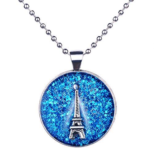 Paris Tracht (Unendlich U Damen Halskette Retro Paris Eiffelturm Blauer Nachthimmel Legierung Epoxy Rund Anhänger Pullover)