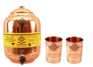IndianArtVilla Copper Water Dispenser Storage Pot Matka with 2 Glass Tumbler, Serveware Set, Yoga,3 Pieces