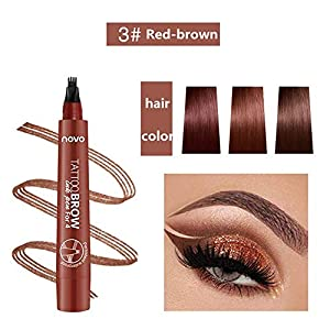 Lápiz de cejas líquido 3D, lápiz de tatuaje para cejas, 4 puntas de horquilla líquida para maquillaje de ojos, larga duración, impermeable, a prueba de manchas, aspecto natural (01#Marrón claro)
