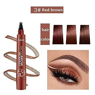 Lápiz de cejas líquido 3D, lápiz de tatuaje para cejas, 4 puntas de horquilla líquida para maquillaje de ojos, larga duración, impermeable, a prueba de manchas, aspecto natural (03#Marrón rojizo)