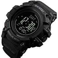 Impermeable Relojesinteligentes Deportivo Relojes/Luz LED/Brújula/Altímetro/Barómetro/Termómetro/Reloj Ajustable A Prueba De Golpes(Black)