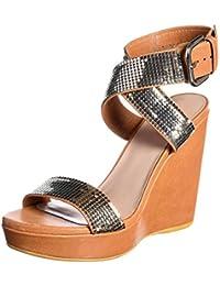 5513M sandali zeppe donna STUART WEITZMAN metalmania scarpe women sandals  shoes 7705c6ad1f9