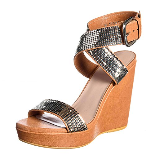 5513M sandali zeppe donna STUART WEITZMAN metalmania scarpe women sandals shoes Cuoio