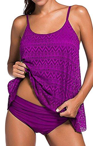 YuanYan Damen Sportlich Tankini Top Bandeau Bikini Sets Zwei Stück Beachwear Gepolstert Badeanzug, Größe XX-Large, Farbe Lila (Spitze Stück Set Zwei)