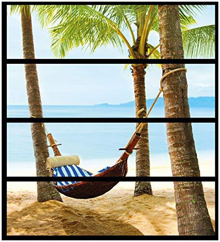 Wallario Möbelfolie/Aufkleber, geeignet für IKEA Malm Kommode - Hängematte in der Karibik mit 4 Schubfächern