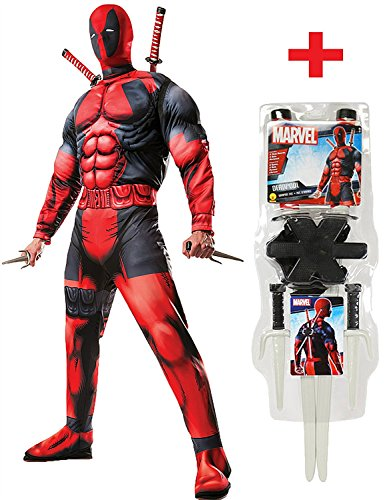 Muskel Wolverine Kostüm - Herren Muskel Deadpool Kostüm Plus Gratis Offizielles Waffen-Kit alle Größen