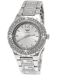 "Edle ""G"" Muster designer Strass Damenuhr Damen Armband Uhr in Silber inkl.Uhrenbox"