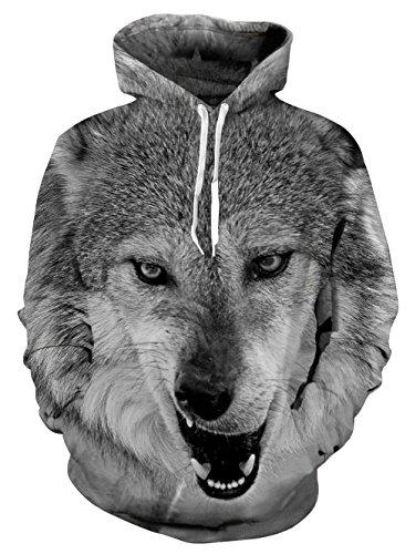 Idgreatim Unisex Kapuzenpullover 3D Bedruckte Tunnelzug Pullover Swearshirt Mit Taschen Graue-Wölfe