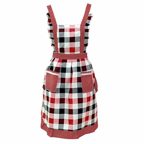 HCFKJ Frauen Dame Restaurant Home Küche Für die Tasche Kochen Baumwolle Schürze Lätzchen