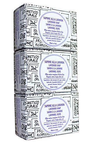 3er Vorteilsset (3 x 140 g), reine Bio Olivenölseife mit Lavendelduft, natural, palmölfrei, handmade, vegan, 3 x 140 g