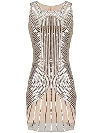 PrettyGuide Women 20s Gatsby Downton Beaded Sequin Embellished Flapper Dress