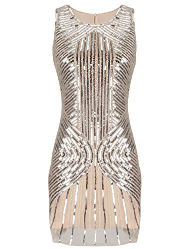 Dress Best London Kostüm Fancy - PrettyGuide Damen 20s Gatsby Downton wulstige Sequin versch?nerte Flapper-Kleid S