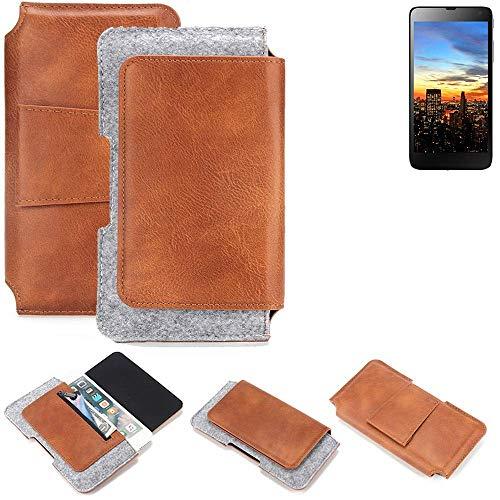 K-S-Trade für Hisense HS-U970E-8 Gürteltasche Schutz Hülle Gürtel Tasche Schutzhülle Handy Smartphone Tasche Handyhülle PU + Filz, braun (1x)