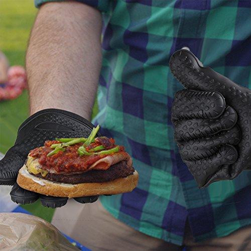 51CGTbDM6CL - COMLIFE Edelstahl 3-teilig Grillbesteck Set BBQ Grill Zubehör Grillzange Grillreinigungsbürste Kieselgel Handschuh mit Tragetasche für Camping BBQ Familien Garten Party