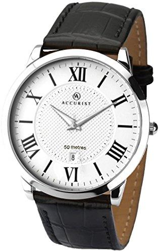 Accurist 7114–Reloj correa de piel negro FECHA reloj