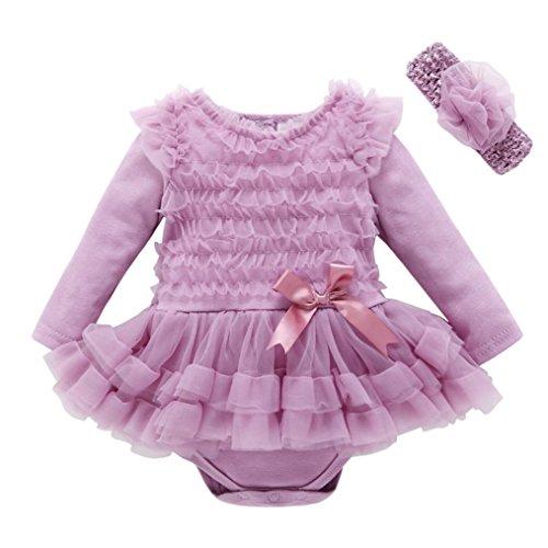 Babykleidung Hirolan Neugeborene Kleidung Herbst Kleinkind Baby Kinder Mädchen Spitze Solide Rüschen Prinzessin Party Kleid Mode Lange Ärmel Outfits (3M, Lila) Rock Band-baby Onesies