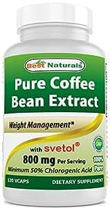 Best Naturals Green Coffee Bean Extract with SVETOL, 800 mg per Capsule, 120 Vegetarian Capsules (200 mg Svetol plus 600 mg Green Coffee Bean Extract per 2 capsules)