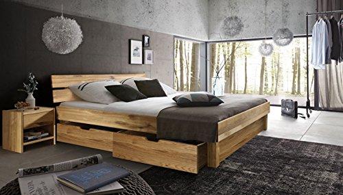 SAM® Massiv-Holzbett Campus mit Bettkästen in Wildeiche natur, geteiltes Kopfteil, 100% FSC-zertifizierte Wildeiche, natürliche Maserung, massive widerstandsfähige Oberfläche in zeitlosem Farbton, 160 x 200 cm