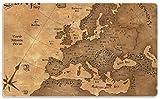 Wallario Stilvolles Frühstücksbrettchen/Schneidebrett aus Glas, Alte Weltkarte Karte von Europa in englisch, Größe 14 x 23 cm, aus Sicherheitsglas