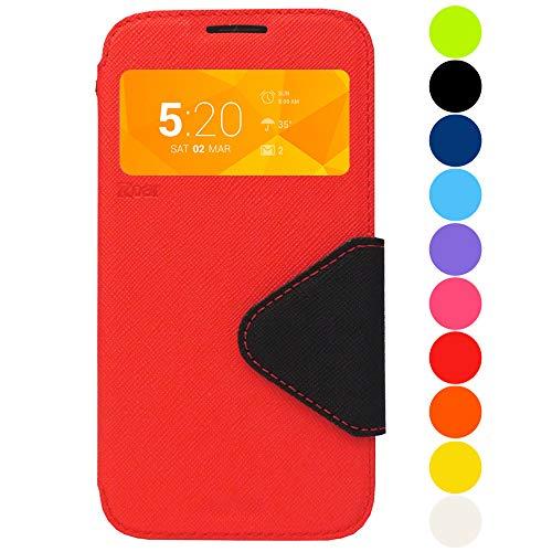 Roar Galaxy J7 2017 Tasche Klapphülle Hülle Handyhülle Flip Case mit Fenster, Premium Etui Schutzhülle geeignet für Samsung Galaxy J7 2017, Rot