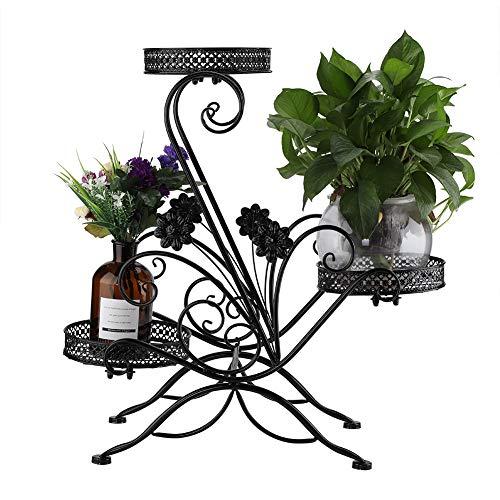 GOTOTOP Pflanzenständer für Sukkulenten, 3 Ebenen, Blumenständer, Eisen, Blumenregal, Topfregal, für drinnen und draußen, Balkon-Pflanze, mit modernem Pflaumenblüten-Design (schwarz)