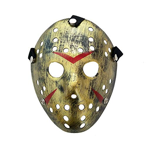 Maske Halloween Hockey Kostüm - Lixinfushi Horror Halloween Kostüm Hockey Maske Party Cosplay Requisiten Fünf Farben Optional (2Er Pack),D