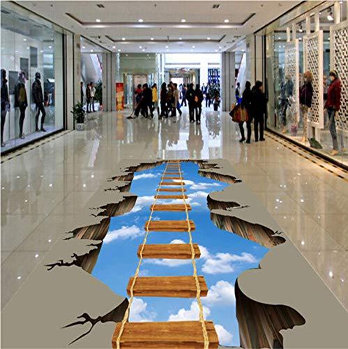 Keshj Benutzerdefinierte Foto-Boden-Tapete 3D Hd Abenteuer Cliff Mural Park Plaza Shopping Mall Rutschfeste Wasserdichte Selbstklebend-300cmx210cm