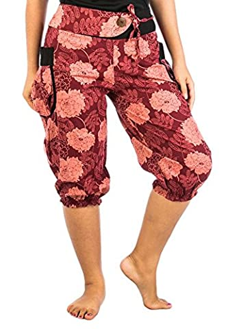 Lofbaz Women's Hmong Cotton Printed Capri Pants Floral 1 Pink & Burgundy One Size