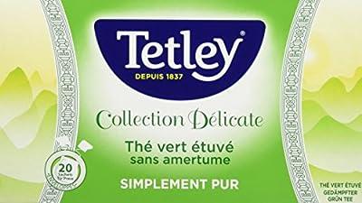 Tetley Thé Vert Etuve sans Amertume Simplement Pur Boîte de 20 Sachets Tir Press Sous Protect'Arôme Collection Délicate