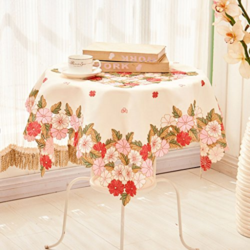 Nappes Chiffon de table en tissu Carré Brodé Nappe Européenne Couverture Serviette Café Table Tissu ( taille : 125*125cm )