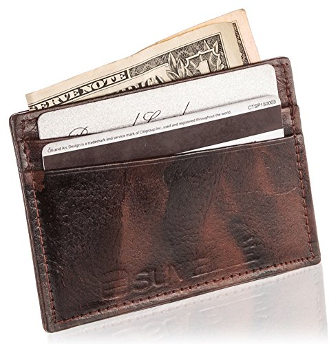 nuine Leather Front Pocket Wallet Minimalist Card Case Holder W033 ()