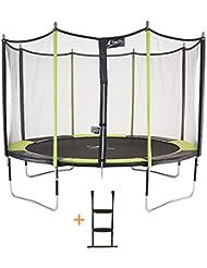 Kangui - Trampoline de jardin + filet de sécurité + échelle JUMPI POP
