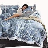 Unbekannt Mali Winter Fale AB-Version Verdicken Baumwolle Bettbezug Flanell Blätter Bettwäsche 4-Teiliges Set,Gray,M