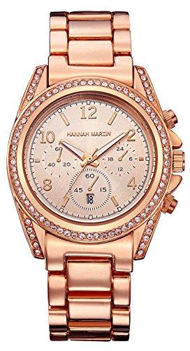 Uhren Damen Rosegold, Groß Analog Quarz Damenuhr, Luxus Strass Damen Armbanduhr, Elegant Quarzuhr für Frauen 1107