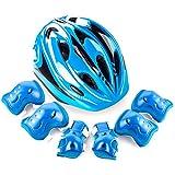 YAKOK Kinderhelm-Set, 7-teilig, Kinderhelm, Sicherheit mit Schutzausrüstung für Fahrrad, Roller, Skateboard, für Kinder, Jungen und Mädchen, 4-12 Jahre, blau, 50-58CM