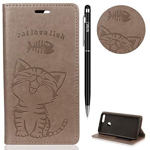 Huawei P Smart Hülle,Huawei Enjoy 7S Case Leder,WIWJ Prämie PU Klapphülle Leder Brieftasche[Impressum Cat Love Fish Handy Case]Schutzhülle für Huawei P Smart/Huawei Enjoy 7S-Grau