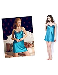 Las Mujeres 100% Pijamas de Seda Pura Vestido de Dormir de Encaje Sling V Cuello