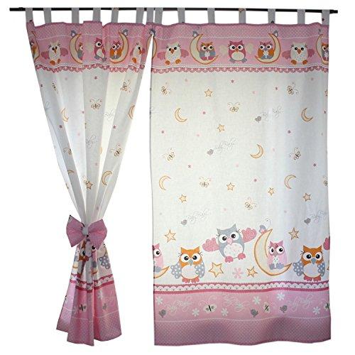 2er Set Gardinen Kinderzimmer Vorhänge mit Schlaufen und Schleifen 155x95 cm Dekoschal Schlaufenschal , Farbe: Eulen Rosa, Größe: ca. 155x95 cm