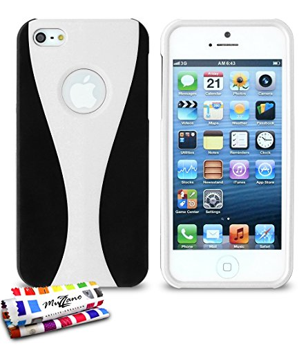Flip-Case APPLE IPHONE 5 [CroCoChic Premium] [Rosa] von MUZZANO + STIFT und MICROFASERTUCH MUZZANO® GRATIS - Das ULTIMATIVE, ELEGANTE UND LANGLEBIGE Schutz-Case für Ihr APPLE IPHONE 5 schwarz / weiß