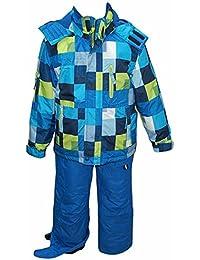 Outburst - Snowsuit garçon aux yeux costume de ski 2 pièces résistant, bleu eau