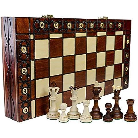 SENADOR - grande 40cm/16 adentro a mano juego de ajedrez clásico de madera